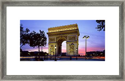 France, Paris, Arc De Triomphe, Night Framed Print by Panoramic Images