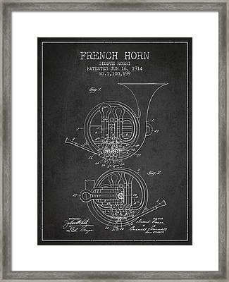 French Horn Patent From 1914 - Dark Framed Print by Aged Pixel
