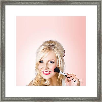 Fresh Faced Makeup Girl With Cosmetic Brush Framed Print by Jorgo Photography - Wall Art Gallery