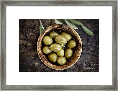 Fresh Olives Framed Print by Mythja  Photography