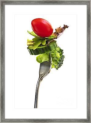 Fresh Vegetables On A Fork Framed Print by Elena Elisseeva