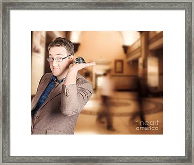 Friendly Store Manager Holding Help Desk Bell Framed Print by Jorgo Photography - Wall Art Gallery
