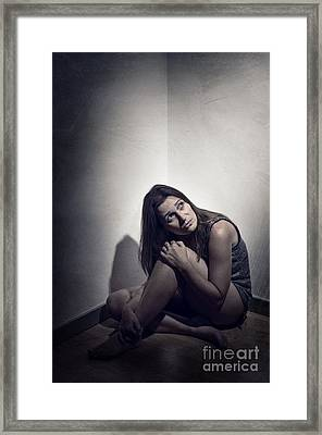 Frightened Woman Framed Print by Carlos Caetano