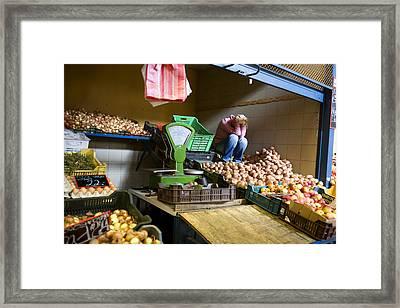 Fruit Stand Woman Framed Print by Madeline Ellis