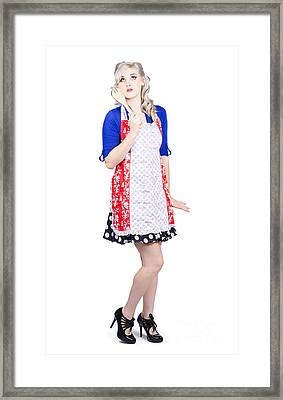 Full Length Pretty Girl Baking With Mixer Spoon Framed Print by Jorgo Photography - Wall Art Gallery