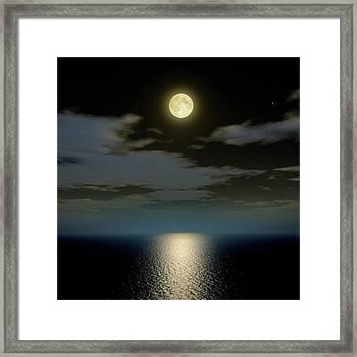 Full Moon Over The Sea Framed Print by Detlev Van Ravenswaay