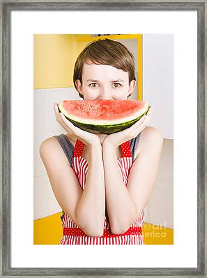 Funny Woman With Juicy Fruit Smile Framed Print by Jorgo Photography - Wall Art Gallery