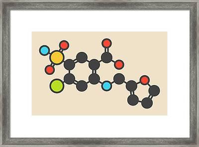 Furosemide Diuretic Drug Molecule Framed Print by Molekuul