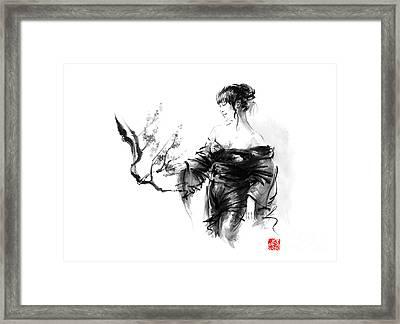 Geisha Japanese Woman In Kimono Cherry Blossom Original Japan Painting Art Framed Print by Mariusz Szmerdt