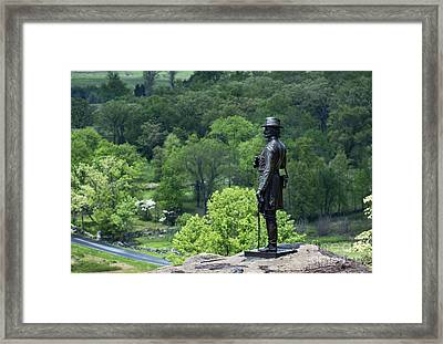 General Warren At Little Round Top Framed Print by John Greim