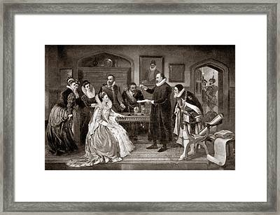 Gilbert Shows Electricity To Elizabeth I Framed Print by Science Photo Library