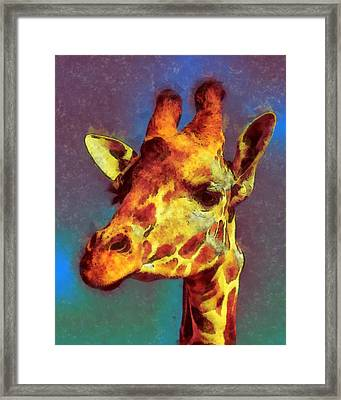 Giraffe Abstract Framed Print by Ernie Echols