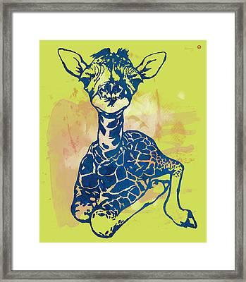 Giraffe - Stylised Pop Modern Etching Art Portrait Framed Print by Kim Wang