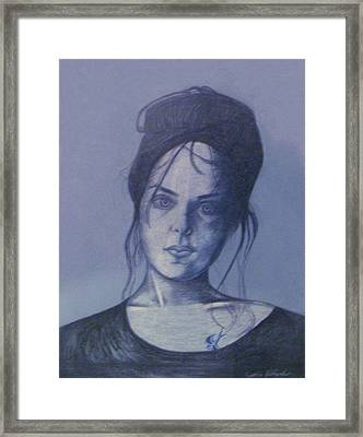 Girl With Tattoo Framed Print by Cynthia Hilliard