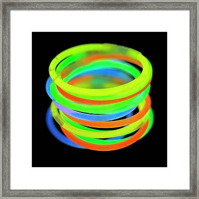 Glowstick Bangles Framed Print by Science Photo Library