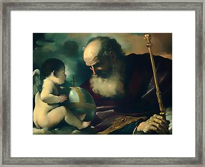 God The Father And Angel Framed Print by Mountain Dreams