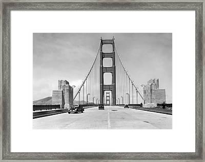 Golden Gate Bridge Preview Framed Print by Underwood Archives