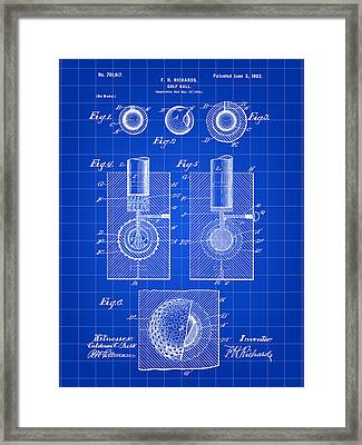 Golf Ball Patent 1902 - Blue Framed Print by Stephen Younts