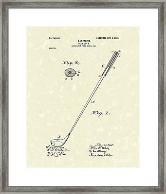 Golf Club 1903 Patent Art Framed Print by Prior Art Design