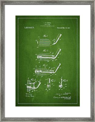 Golf Club Patent Drawing From 1917 Framed Print by Aged Pixel