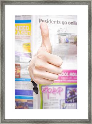 Good News Or Thumbs Up Review Framed Print by Jorgo Photography - Wall Art Gallery