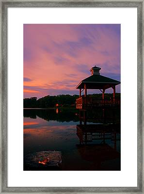 Gorton Pond Sunset Warwick Rhode Island Framed Print by Lourry Legarde