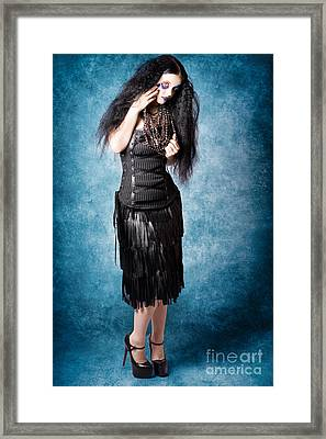 Gothic Female Fashion Model. Elegant Black Outfit Framed Print by Jorgo Photography - Wall Art Gallery