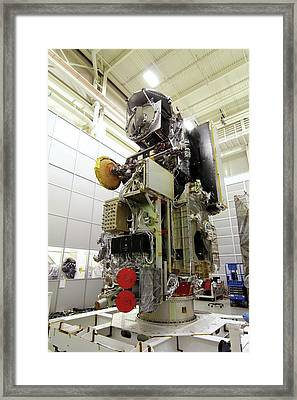 Gpm Rainfall Satellite Assembly Framed Print by Nasa