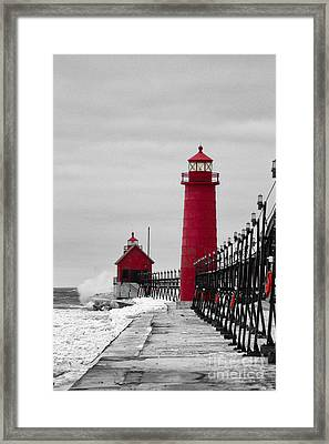 Grand Haven Lighthouse Framed Print by Todd Bielby