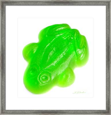 Green Gummy Frog Framed Print by Iris Richardson