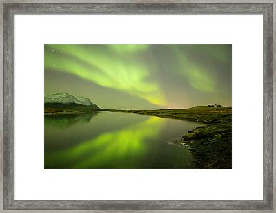 Green Reflection Framed Print by Thorir Bjorgvinsson