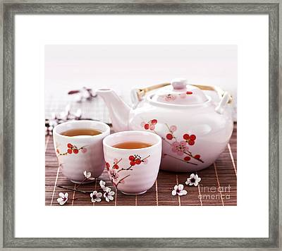 Green Tea Set Framed Print by Elena Elisseeva