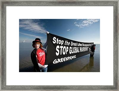 Greenpeace Campaigners Framed Print by Jim West