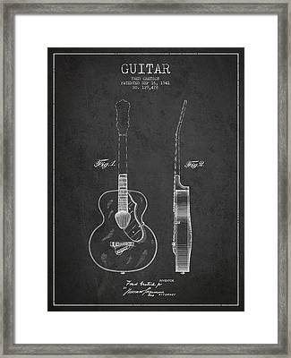 Gretsch Guitar Patent Drawing From 1941 - Dark Framed Print by Aged Pixel