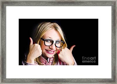Grinning Geek With Thumbs Up To Cheeky Business Framed Print by Jorgo Photography - Wall Art Gallery
