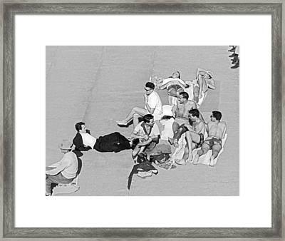Group Of Men Sunbathing Framed Print by Underwood Archives
