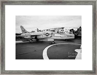 Grumman F11f Tiger On Display On The Flight Deck At The Intrepid Sea Air Space Museum Framed Print by Joe Fox