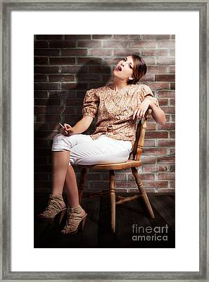 Grunge Girl Smoking Cigarette In Dark Interior Framed Print by Jorgo Photography - Wall Art Gallery
