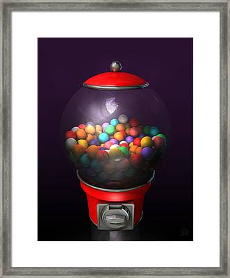 Gumball Dispensing Machine Dark Framed Print by Allan Swart