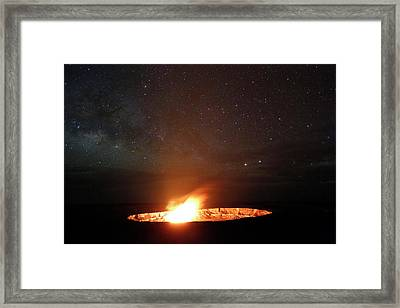 Halemaumau Volcanism At Night Framed Print by Michael Szoenyi