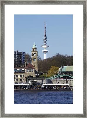 Hamburg - Skyline Of The Port Framed Print by Olaf Schulz