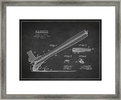 Hammer Patent Drawing From 1901 Framed Print by Aged Pixel