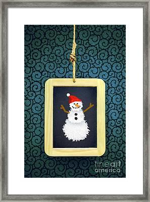 Hanged Xmas Slate - Snowman Framed Print by Carlos Caetano