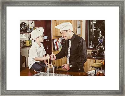 Happy Dad And Son Baking Cake In House Kitchen Framed Print by Jorgo Photography - Wall Art Gallery