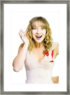 Happy Excited Woman With Wide Smile Framed Print by Jorgo Photography - Wall Art Gallery