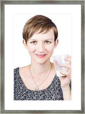 Happy Healthy Woman With Fresh Milk Framed Print by Jorgo Photography - Wall Art Gallery