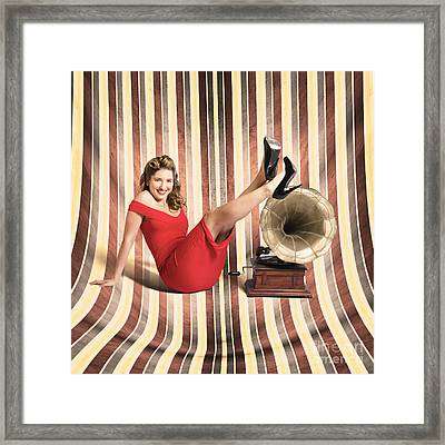 Happy Pin Up Lady. Retro Music And Entertainment Framed Print by Jorgo Photography - Wall Art Gallery