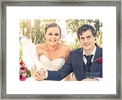 Happy Smiling Bride And Groom Framed Print by Jorgo Photography - Wall Art Gallery