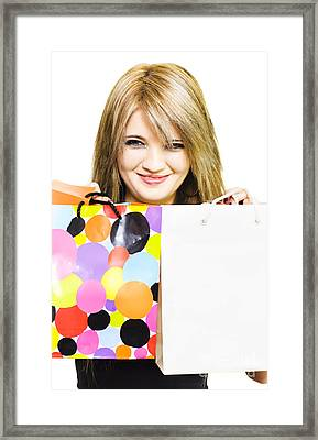 Happy Smiling Woman Holding Shopping Bags Framed Print by Jorgo Photography - Wall Art Gallery