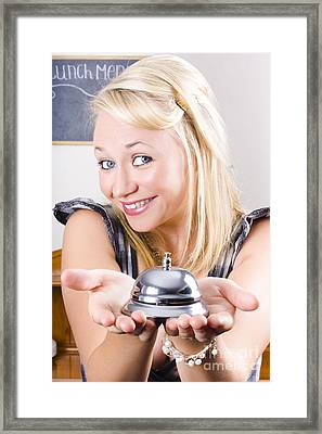 Happy Waiter Offering Good Restaurant Service Framed Print by Jorgo Photography - Wall Art Gallery